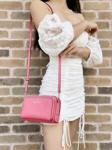 Kate Spade Staci Dual Zip Around Crossbody Camera Bag Garden Pink Saffiano
