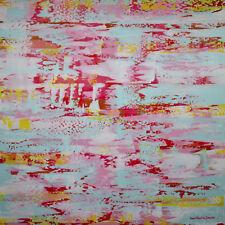 Abstraktes Gemälde auf Leinwand 1m x 1m Pink Gelb Weiß Blau