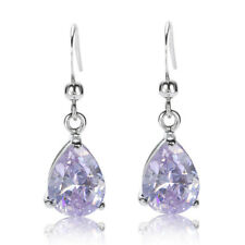 Sale! Lady Gift New Tanzanite White Gold Plated Gp Earring Stud Stick Earing