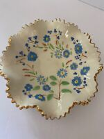 VINTAGE CERAMIC FLUTED CANDY DISH BLUE FLOWERS GOLD EDGING