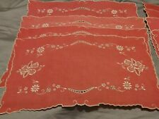 Set - 4 Red Embroidered & Cutwork Madeira Floral Linen Placemats & Napkins
