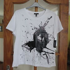 Kenneth Cole White/Black print Cotton T Shirt Size L BNWT