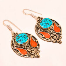 Nepali Gemstone Tibetan Earring S-2.40'' Charming Turquoise With Red Coral
