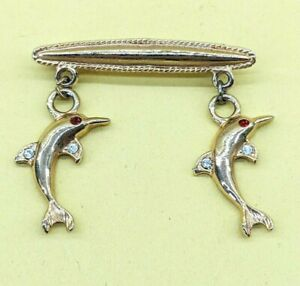 Vintage Gold Tone Crystal Double Dolphin Charm Tie Pin