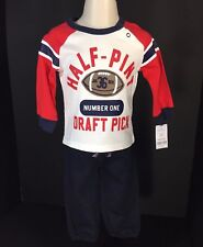 Baby Boy Clothes Size 12 Month 2 Piece Set Carters Red White Blue Half Pint NEW