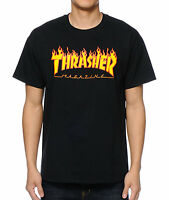 Thrasher Tee Flame Black FREE POST New Mens Skateboard Magazine Premium T-Shirt