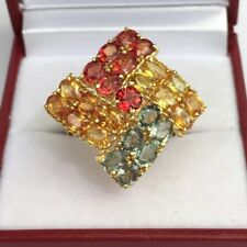14k Solid Yellow Gold Big Cluster Ring Natural Color Sapphire, Sz 8, 6.02Grams