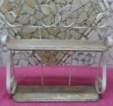 Mensola Rustica Vintage Shabby Chic in ferro battuto e legno noce bianco perla