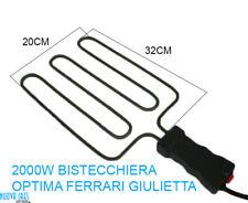 RESISTENZA PER BISTECCHIERA 2000W CON MANICO FERRARI OPTIMA G3 GIULIETTA 32x20CM