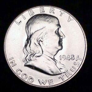 GEM BU 1948-P 50C Franklin Half Dollar 90% Silver U.S. Coin
