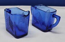 "1930's Depression Glass Cobalt Blue Creamer & Sugar Bowl Hazel Atlas 3"" Tall"