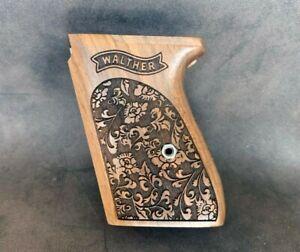 Walther PPK Turkish Walnut Wood Grips Set. Floral. Oak Leafs and Acorns Pattern.