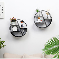 Wall Mount Rack Bookshelf Iron Floating Shelf Mounted Display Storage Art Decor