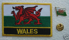 Wales Flag Pin and Patch Embroidery
