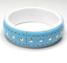 NEU 19cm ARMREIF blau-weiß STERNE silber ARMREIFEN Stern STERNEN Armspange