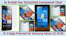 3x Kristall Klar Display Schutz Folie Samsung Galaxy S2 GT i9100 Clear Kratzfest