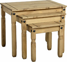 MEXICAN PINE CORONA NEST OF TABLES COFFEE SIDE END *FREE NEXT DAY DELIVERY