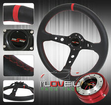 """350MM BLACK RED STEERING WHEEL W/ 1.5"""" RED SLIM QUICK RELEASE & JDM HORN BUTTON"""