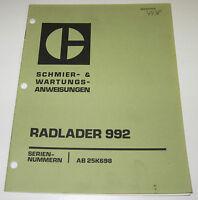 Betriebsanleitung und Wartungsanleitung Caterpillar Radlader 992 Stand 10/1972!