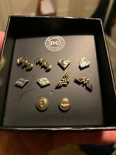 Dc Comics Warner Bros Set x5 Silver/Gold Plated Earrings NEW BOX Batman Flash