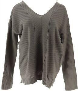 Lisa Rinna Diagonal Stitch Sweater Ribbed Slvs Charcoal L NEW A268103