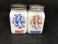 Tipp City Salt and Pepper Shakers Milk Glass Sailboats Vintage
