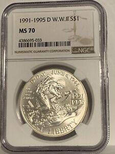 1991-1995 Silver D W.W.ll S$1   NGC MS70