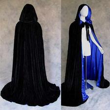 Black Velvet lined Blue Satin Medieval Cloak Wedding Wicca LOTR LARP Cosplay