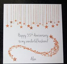 Personalised Handmade On Our 35th Coral Wedding Anniversary Card -Husband -Wife