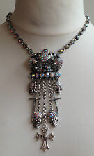 HUGE SILVER CROWN SKULL & CROSS CRYSTAL CHARM NECKLACE / DROP STATEMENT PENDANT