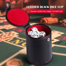 Felt Lined Black Leather Dice Cup with 5 Dot Dices Set Pack Bar Tool Interesting