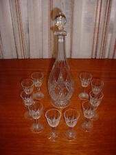 "French Crystal Baccarat ""EPRON"" PATTERN  LIQUOR DECANTER w/Stopper & 10 GOBLETS"