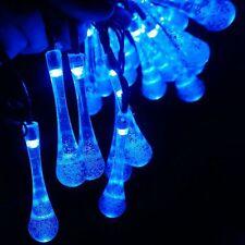 20 LED Solar Light Blue String Crystal Water Drop Tree Ornament