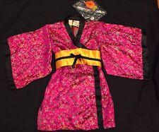 NWT Pink Silky Geisha Japanese Asian Kimono Girls size 4 Halloween Costume CUTE!