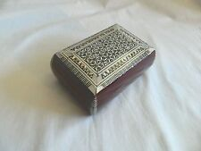 """Egyptian Hand Inlaid Mother of Pearl Jewelry Wood Bomba Box 5.75""""X 3.75"""""""