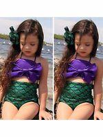 Girls Little Mermaid Bikini Suit Swimmable Swimming Costume Swimsuit Swimwear UK