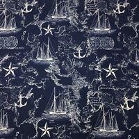 Nautical Map Ship Sailing Navigation Sea Anchor Ocean Quilting Fabric Blue  FQ