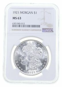 1921 MS63 Morgan Silver Dollar NGC Philadelphia - Brown Label *0959