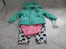 NB Baby Girl Carter's Fleece Hoodie Scottie Dog Pants Romper Outfit Set NWT