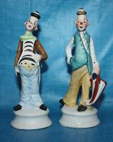 2 Vintage Ceramic Clowns ~ Hand Painted ~ Unknown Manufacturer