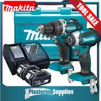 Makita Brushless Hammer Driver Drill & Impact Driver Cordless Kit Li-Ion 18v