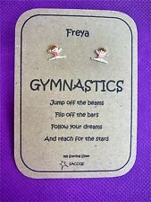 Gymnastics Gift Sterling Silver Personalised Earrings Saccos