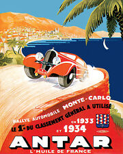 MONTE CARLO RALLY 1933 AUTOMOBILE CAR RACE 8X10 VINTAGE POSTER REPRO FREE S/H
