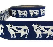 "1 Yd Country Farm Cows Blue Woven Jacquard Ribbon Trim 1 5/8""W"