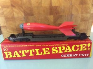 1960's TRIANG HORNBY R239K. BATTLE SPACE RED ARROW BOMB TRANSPORTER WITH BOX.