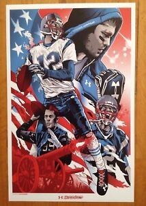 Tom Brady & Tampa Bay Buccaneers  Under Armour Illustrated Poster 17 X 11