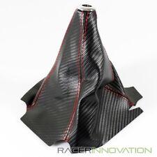 PVC Carbon Fiber Look Black/Red Stitch JDM Shift Knob Shifter Boot Cover MT/AT