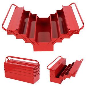Boîte à outils métal Caisse à outils boîte rangement coffre avec 4 compartiments