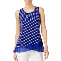 INC NEW Women's Blue Polka Dot Sleeveless Layered-look Tank Shirt Top XXL TEDO