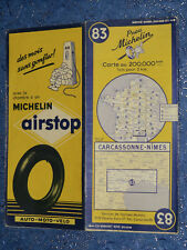 Carte  MICHELIN 83 Carcassonne Nîmes 1953